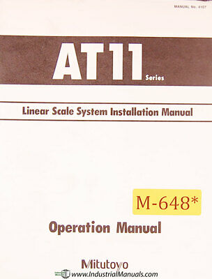 Mitutoyo AT11 Series, Scale Installation Manual