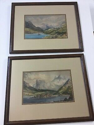 Two Antique Watercolors Identically Framed