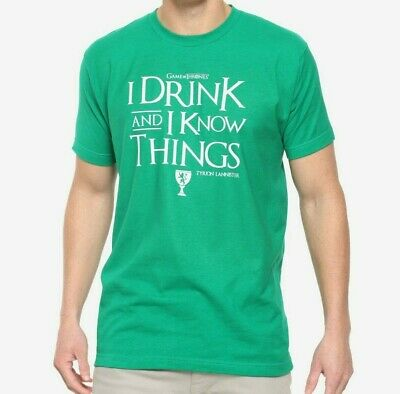 Game Of Thrones TYRION LANNISTER I DRINK AND I KNOW THINGS T-Shirt NWT Authentic