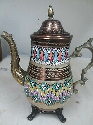 Hand painted brass enamel vintage teapot Turkey 1960's