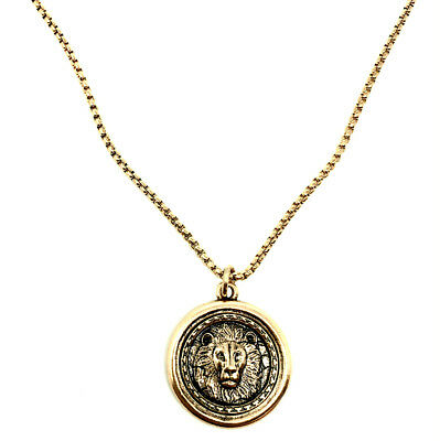 "Silver Gold Lion Coin in holder 20""/24"" Medieval Look, Men Women Unisex Necklace"