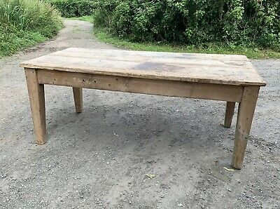 Large Rustic Antique Industrial Pine Workbench Farmhouse Kitchen Table Barn Find