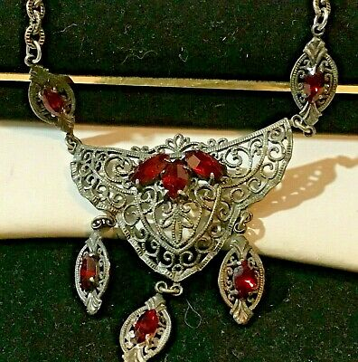 Vintage Czech Red Glass Necklace Tassels Beautiful Filigree Work Antique Silver