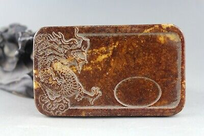 3.7'' China old jade Chinese hand-carved ancient dragon jade Ink Stone 2032