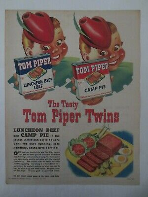 Vintage Australian advertising 1956 ad TOM PIPER CANNED FOOD piper twins art