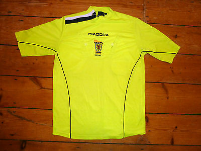 MATCH WORN +large Scotland Referee Football Shirt  Neon  SFA Jersey w/ Pockets