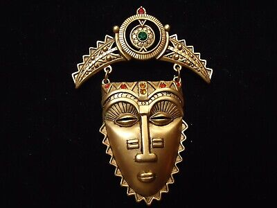 Vintage Signed AVON Colorful Rhinestone Large Tribal Aztec Mask Brooch Pin