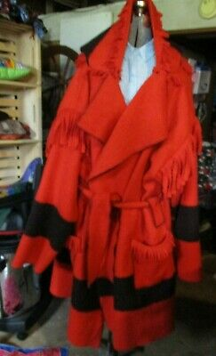 Capote coat size -2xlg Red with black stripe capote coat