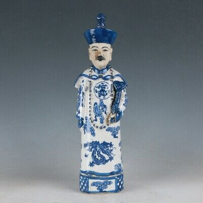 China Underglaze Blue Porcelain Hand Carved Ancient Chinese Officials Statue HD