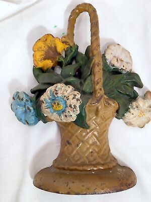 Antique Cold Painted Cast Iron Door Stop French Basket Flowers