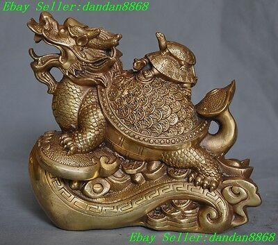 Chinese Fengshui Brass Wealth Money Coin longevity Dragon tortoise Turtle statue