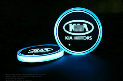 New 2PCS Colorful LED Car Cup Holder Pad Mat Auto Atmosphere Light For KIA