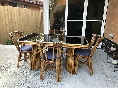 1940's vintage rattan/bamboo dining suite