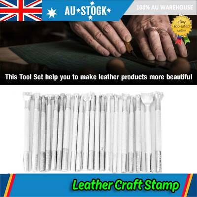 20PCS Leather Working Saddle Making Carving Leather Craft Stamps  Kit Set