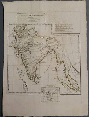 India & Sri Lanka (Ancient Indian Continent) 1765 D'anville Antique Engraved Map