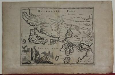 NORTHWESTERN GREECE & ALBANIA 1700ca ANONYMOUS ANTIQUE COPPER ENGRAVED MAP