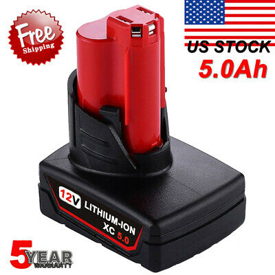 For Milwaukee 12V M12 48-11-2460 LITHIUM XC 6.0 Extend Cordless Battery 5.0AH US