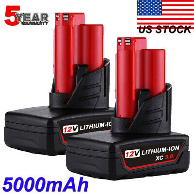 2x For Milwaukee M12 12 Volt XC 6.0 Extended Capacity Lithium 48-11-2460 5.0AH