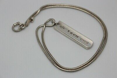 "Tiffany&Co.Sterling Silver Bar Pendant T&CO 1837 925 Sterling 18"" Necklace"