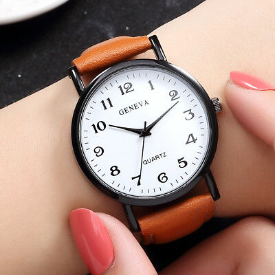 Men's Fashion Casual Stainless Steel Leather Band Quartz Analog Wrist Watch CA