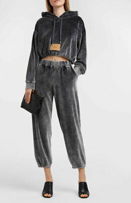 Designer T By Alexander Wang Size S Grey Velour Track Style Women's Pants