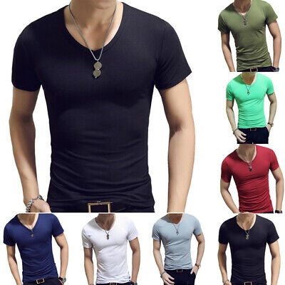 Men Casual Muscle T-Shirt Short Sleeve Slim Fit V-Neck Solid Top Blouse Shirt