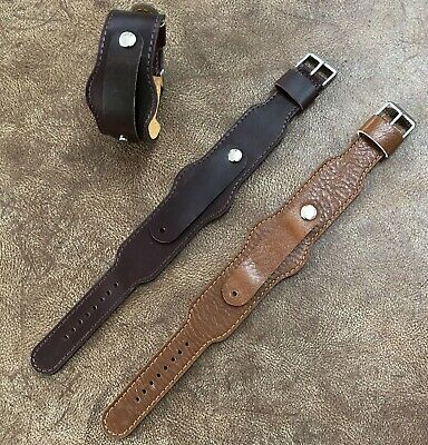 Extra-Long Military Style Leather Cuff Watch Strap/Band Size 16/17/18/19/20 #106