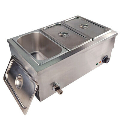 1/3 GN Pan Bain Marie Electric Food Warmer Restaurant Displays  Stainless Steel
