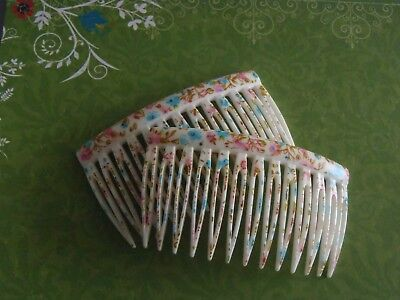 Vintage French Hair Comb delicate floral 70x40mm womens accessories hair jewelry