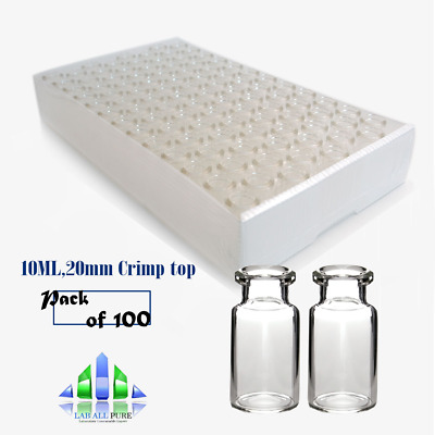 100X20mm Crimp top/Bevelled Glassware Laboratory 10ml Headspace Crimp Top Clear