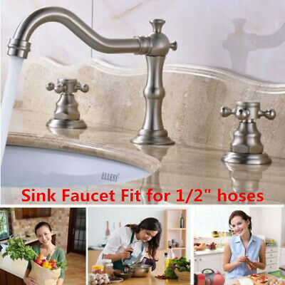 Brass Widespread Bathroom Basin Sink Faucet Dual Cross Knobs Mixer Tap 3 Hole