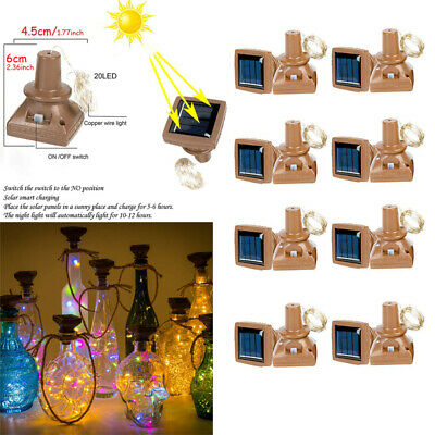 1-12 PCS 2M 20 LED Wine Bottle Fairy String Light Cork Starry Night Xmas Wedding