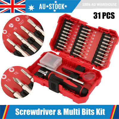 31Pcs Multi-Bit Ratchet Screwdriver Set 27 Precision Bits +120mm Extension Rod