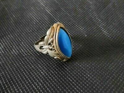 Chinese Copper & Blue jade hand carving butterfly ring noble gift