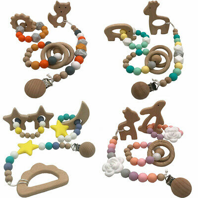 Rabbit Cat Wooden Pacifier Chain Silicone Teether Bracelet Baby Teething Toy Set