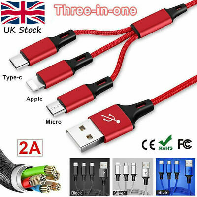 3 in 1 Multi USB Phone Charger Sync braided cable for iPhone 8,7,6,5 TypeC Micro