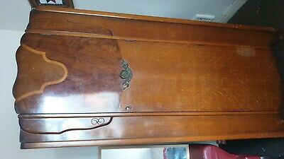Art Deco Dark Wood Single Wardrobe with lock and Key
