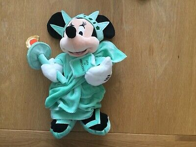 Disney Store Minnie Mouse Statue Of Liberty, New York, 4th Of July Soft Toy