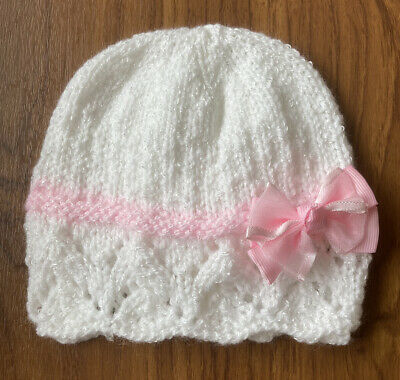 Hand Knitted Baby Hat (3-6 Months) White Shimmer With Pink Band & Bow
