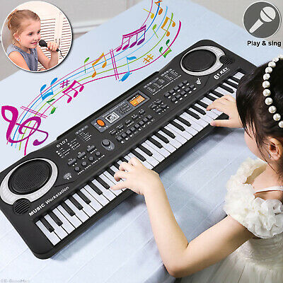 Digital 61 Keys Electronic Music Keyboard & Microphone Electric LED Piano Organ