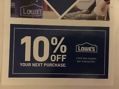 Lowe's 10% off couponn (in store or online). Expires 9/30/2019