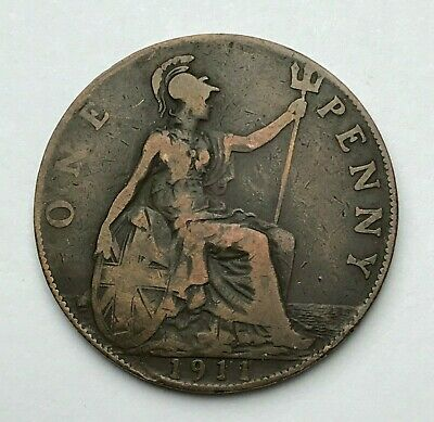 Dated : 1911 - One Penny - 1d Coin - King George V - Great Britain