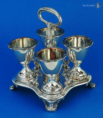 Smart GEORGE IV OLD SHEFFIELD PLATE 4 Cup EGG STAND FRAME c1820