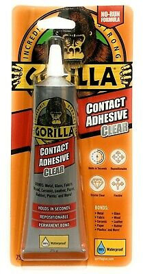 Gorilla Glue Contact Adhesive 100% Waterproof No-Run Formula Instant Bond Clear.