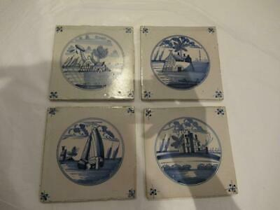 Four delft tiles Circle Landscape. Circa 1800