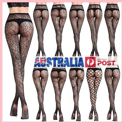 Women Fashion Jacquard Fishnet Pantyhose Tights Pattern Stockings Waist High AU
