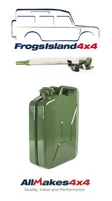 Allmakes 20 Litre Green Steel Jerry Can & Flexible Steel Spout