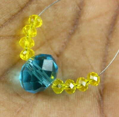 Natural 10.40cts Blue Hydro Yellow Hydro Faceted Rondelle Loose Beads 9pcs