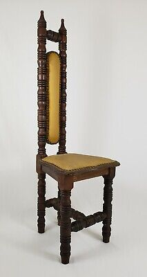 Antique Carved Walnut Jacobean Prayer Throne Chair High Back Hall Vintage