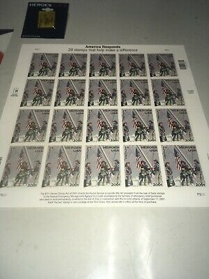 America Responds 9/11 Heroes USA First Class Stamps 2001 Sheet of 20 & Lapel Pin
